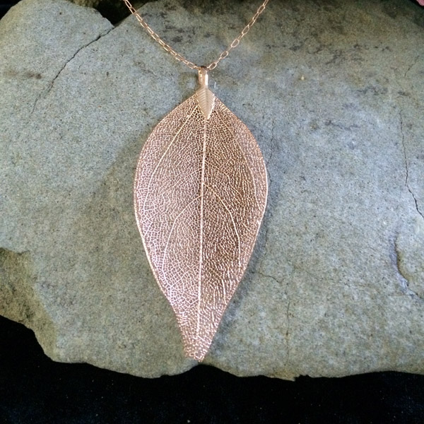 Rose gold plated actual leaf with rose gold fill chain