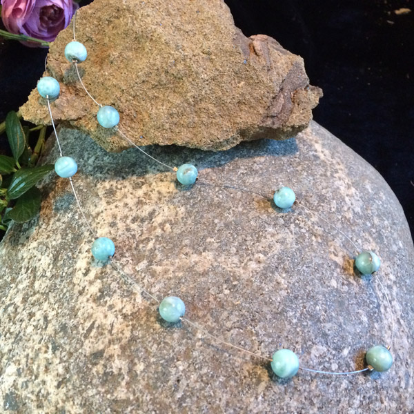 Round Larimar gemstone necklace
