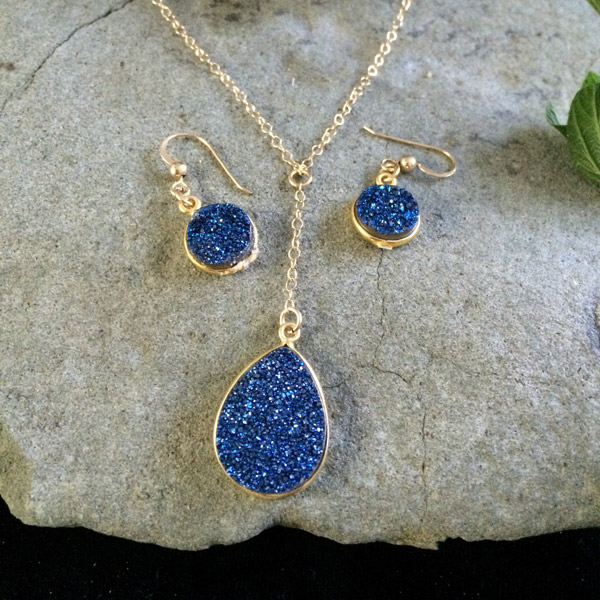 Blue Agate Druzy round pendant necklace and matching earrings