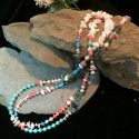 Multi colored chip bead necklace with variety of of stones Agate shell pearl coral turquoise opal