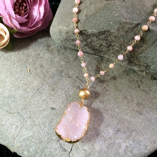 Pink Peruvian Opal beads with a gold karat accent bead and druzy rose quartz dipped in gold fill