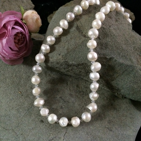 White Fresh water pearls with tiny Swarovski crystals