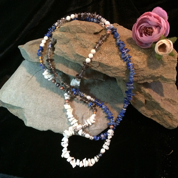 Multicolor chip gemstone necklace with Smokey Quartz, Lapis Lazuli, wood, metallic silver beads, pearl and Moonstone chip beads