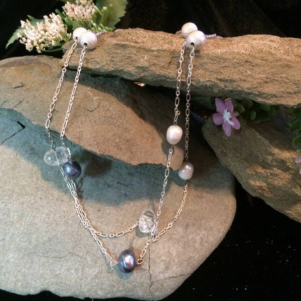 Blue Pearl, clear quartz, silver plated silver beads on sterling silver chain