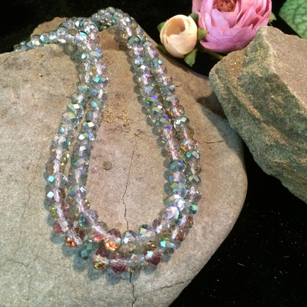 Chinese crystal multi colored faceted beads necklace