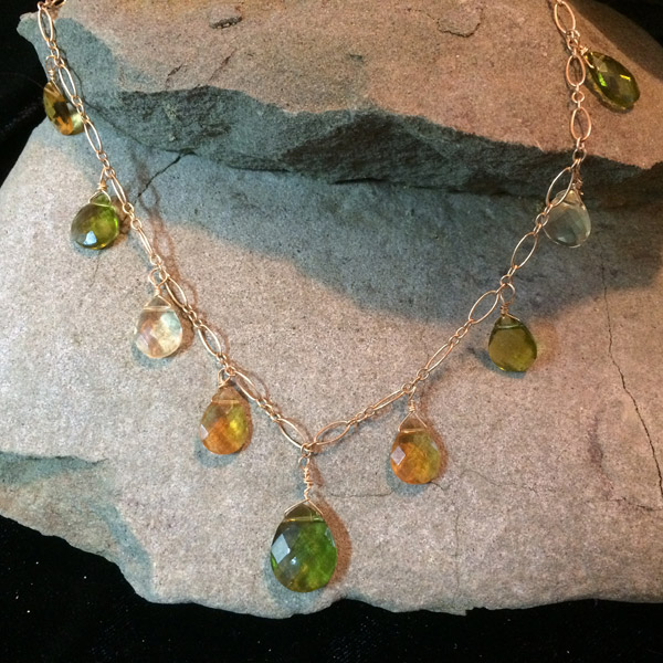 Green/gold/yellow flat teardrop pendant necklace