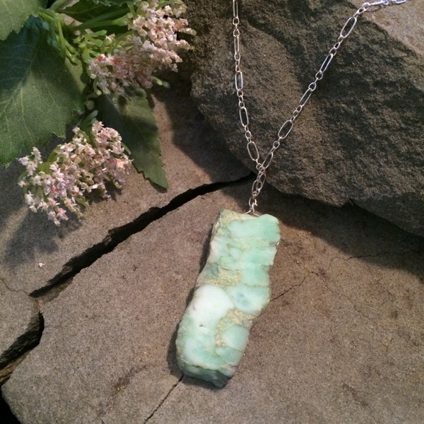 Natural rough rectangle Chrysoprase pendant with sterling silver chain