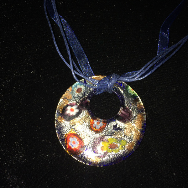 Murano glass round pendant with blue cloth band and clasp