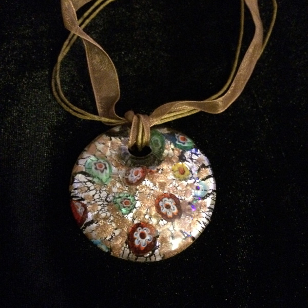 Murano glass round pendant with brown cloth band and clasp