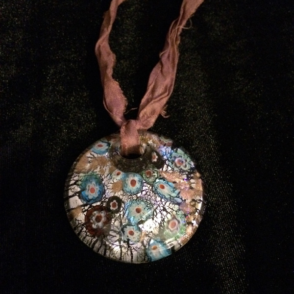 Murano glass round pendant with blue cloth band and no clasp (self-tying)