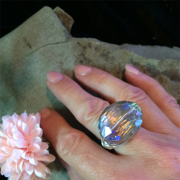 giant clear crystal ring with silver wire