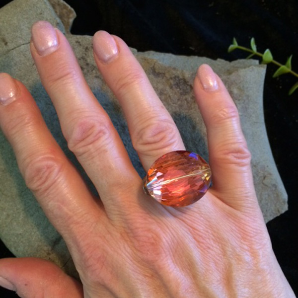 giant tangerine crystal ring
