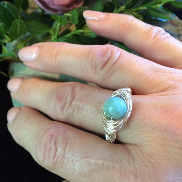 larimar gemstone ring