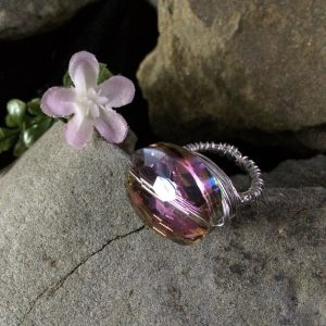Giant Purple Crystal Ring with silver wire