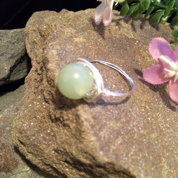 Green 10mm green Jade ring ($35) Sterling silver wire option ($40)