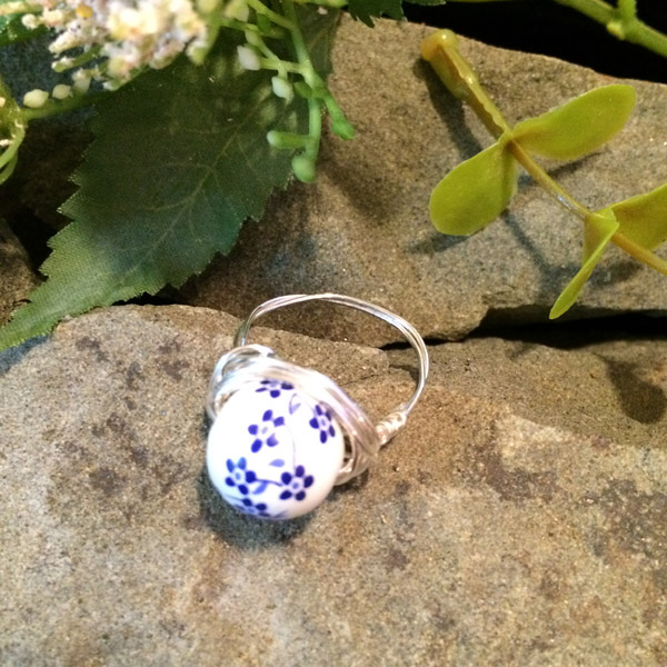 Blue / white flower ceramic round 10mm ring ($28) Sterling silver wire option ($33)