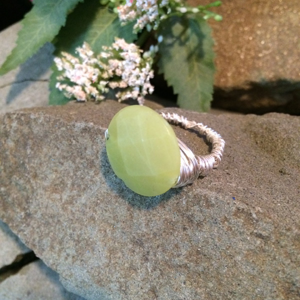 Olive Jade round faceted ($32) Sterling Silver wire option ($42)