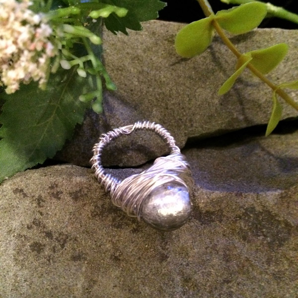 Silver foil 10mm glass bead ring ($28) Sterling silver wire option ($38)