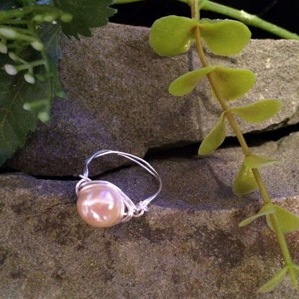 Pink dyed fresh water pearl ring ($28) Sterling silver wire option ($33)