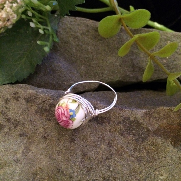 Glass ring with rose in enamel ($28) Sterling silver wire option