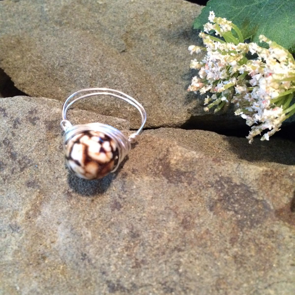 Brown / white Jasper gemstone ring ($28) Sterling silver wire option