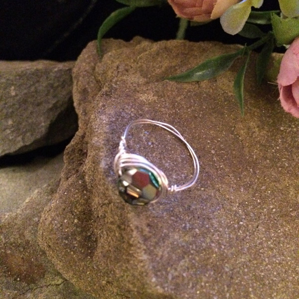 Aurora Borealis (AB) Swarovski crystal faceted round 6mm ring with silver plated wire ($32) Sterling silver option