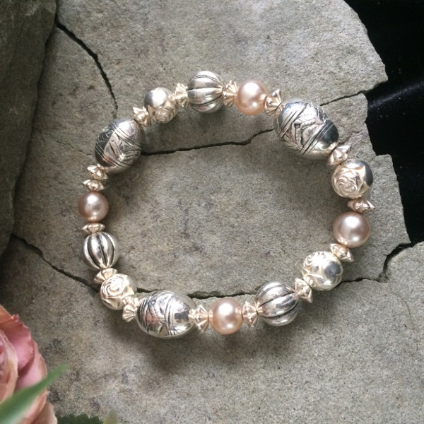 Various Metallic and Pearl stretch bracelet
