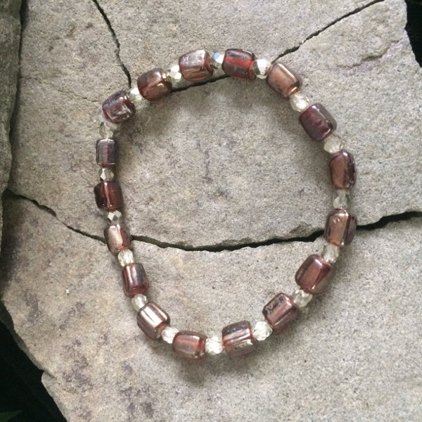 Bronze Glass and Czech bead stretch bracelet