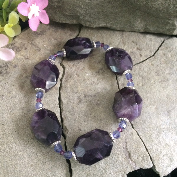 Large Amethyst gemstone with Swarovski Crystal bicone stretch bracelet