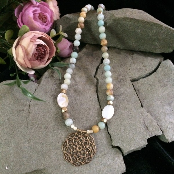 Amazonite necklace with bronze metallic beads and pendant