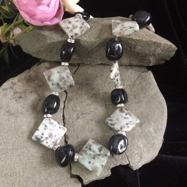 White/Black Jasper gemstone necklace