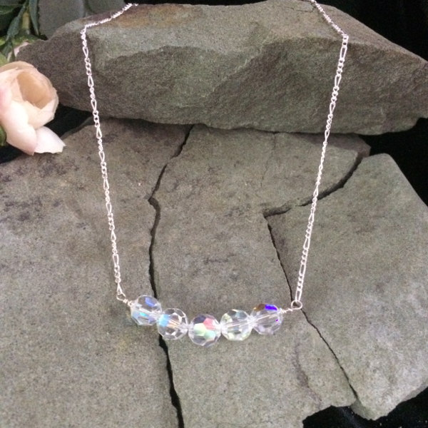 Aurora Borealis Swarovski Crystal bead necklace with sterling silver chain