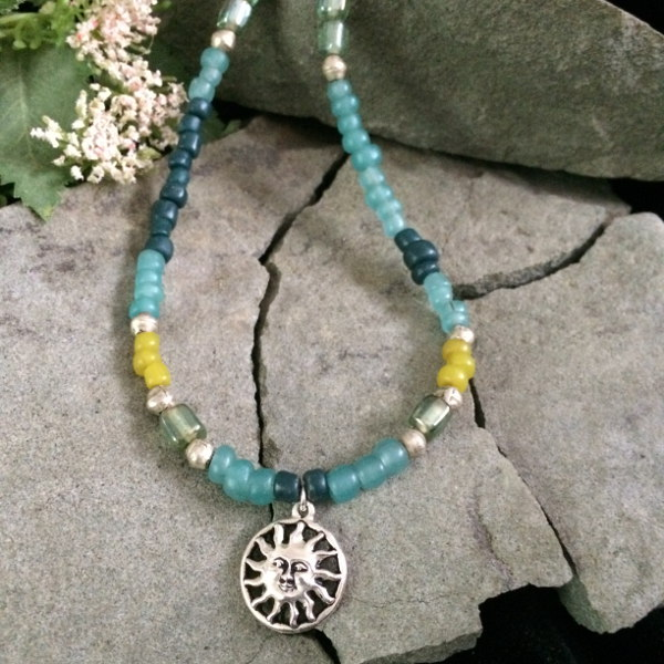 Green Beads Metallic Sun Pendant