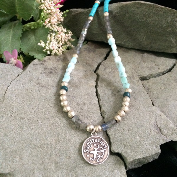 African metal beads with Labradorite and glass beads with Zodiac metal pendant
