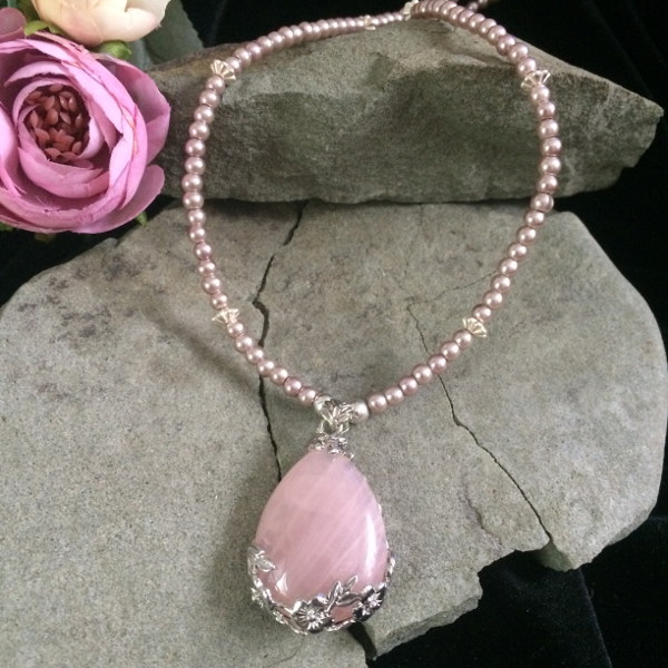 Rose Quartz pendant necklace with pink glass pearls